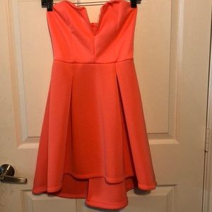 Peach strapless party dress